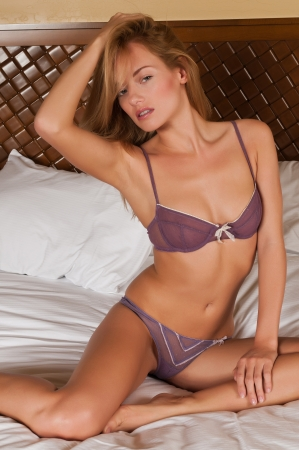sheer lingerie: Lovely young Hungarian blonde in purple lingerie