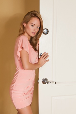 Lovely young Hungarian blonde in a pink dress Stock Photo - 11322031