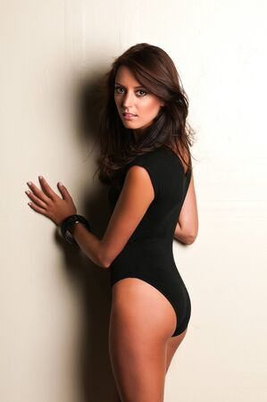 Beautiful slender brunette in a black leotard photo
