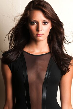 brown hair: Beautiful slender brunette in a black leotard Stock Photo
