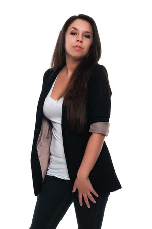 Pretty young petite Latina in casual clothes