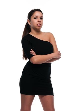 little black dress: Pretty young petite Latina in a little black dress