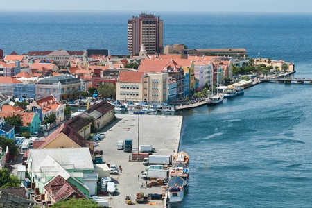 antilles: Colorful buildings of Willemstad, Curacao, Netherlands Antilles Stock Photo