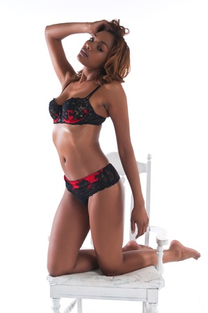 sexy bra: Beautiful young multiracial woman in red and black lingerie