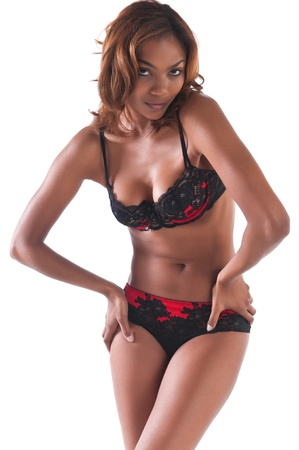 sexy underwear: Beautiful young multiracial woman in red and black lingerie