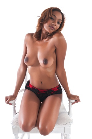 Beautiful young multiracial woman topless on white Stock Photo - 13116957