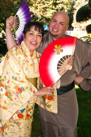 Man and woman in traditional Japanese outfits photo