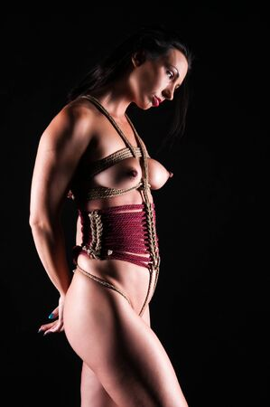 Athletic nude brunette bound with ropes Stock Photo - 13335463