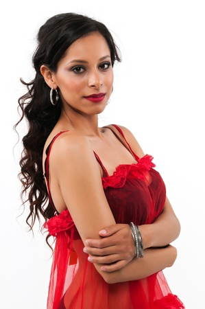 Pretty young Latina in black and red