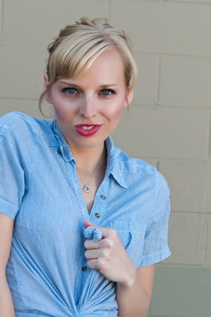 blue eyed: Blue eyed blonde in a check shirt  Stock Photo