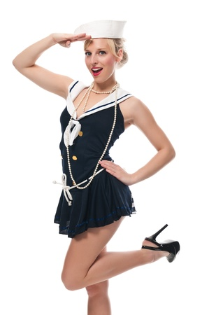 Pretty blue eyed blonde in a sailor suit Archivio Fotografico