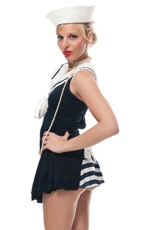 Pretty blue eyed blonde in a sailor suit photo