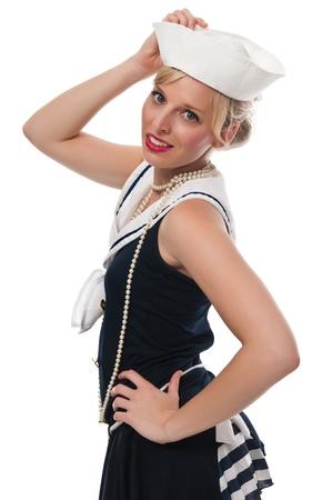 Joli bleu eyed blonde dans un costume de marin Banque d'images - 13591428