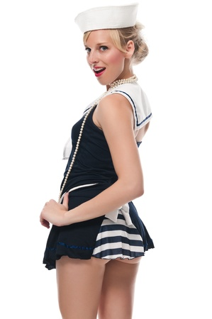 Joli bleu eyed blonde dans un costume de marin Banque d'images - 13591414