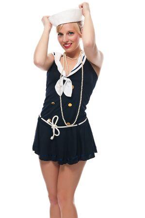 Joli bleu eyed blonde dans un costume de marin Banque d'images - 13591405