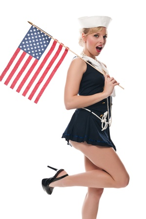 Pretty blue eyed blonde in a sailor suit Imagens