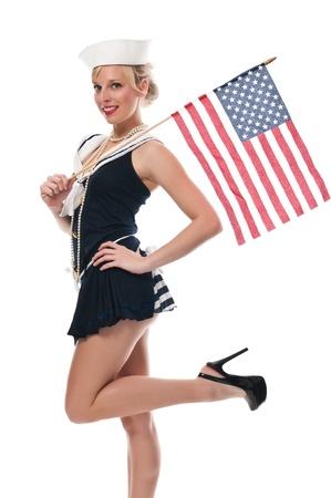Jolie blonde de bleu aux yeux dans un costume de marin Banque d'images - 13591431