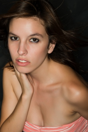 tube top: Pretty young woman in a tube top