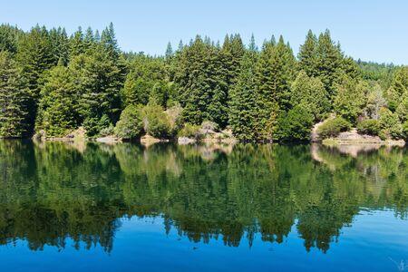 loch lomond: Reflections on the water of Loch Lomond, Felton, California Stock Photo