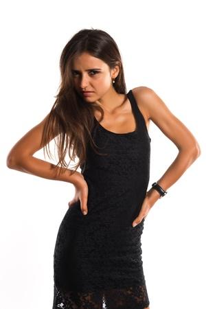 짧은 검은 드레스 아름다운 슬림 루마니아어 여자