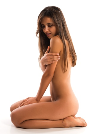 undressed young: Beautiful slender nude Romanian brunette