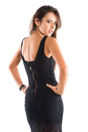 짧은 검은 드레스에서 아름 다운 슬림 루마니아어 여자 스톡 콘텐츠