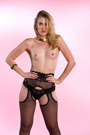 nudity girl: Beautiful topless blonde in brown pantyhose