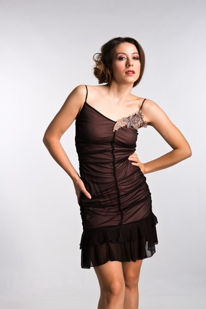 Tall Moldovan woman in a vintage brown dress Stock Photo - 16335780