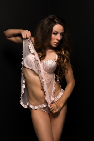 sheer lingerie: Tall Moldovan woman in pink and white lingerie