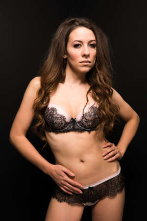 Tall Moldovan woman in pink and brown lingerie photo