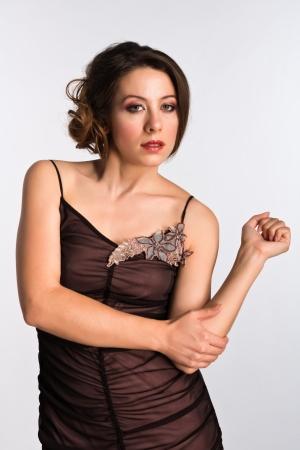 Tall Moldovan woman in a vintage brown dress Banco de Imagens