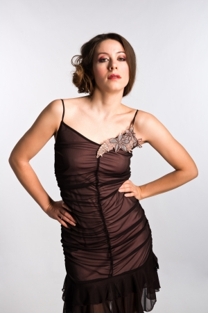 Tall Moldovan woman in a vintage brown dress photo