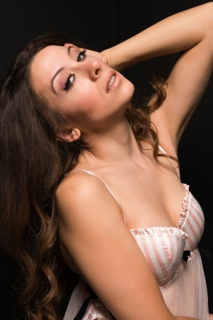 sheer: Tall Moldovan woman in pink and white lingerie