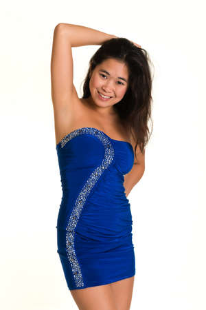 strapless: Pretty young Laotian woman in a strapless blue dress Stock Photo