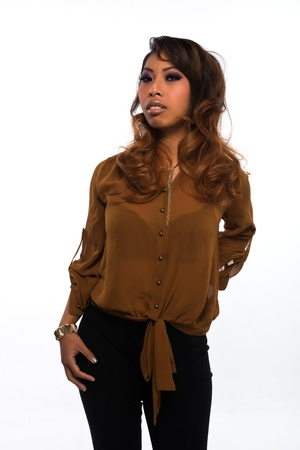 Pretty petite Cambodian girl in brown and black