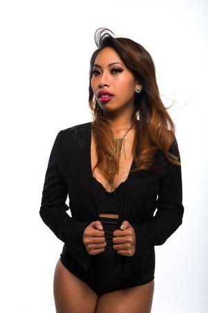 Pretty petite Cambodian girl all in black