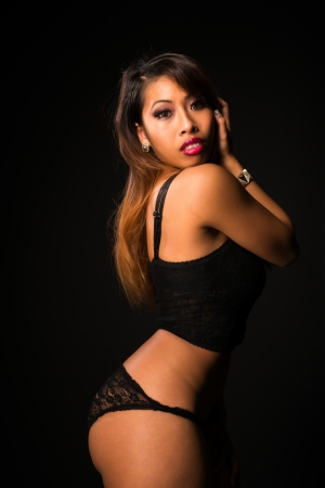 black lingerie: Pretty petite Cambodian girl all in black