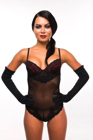 Pretty Russian woman in a unitard and gloves photo