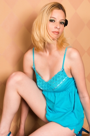 nightie: Pretty blonde woman in a blue nightie