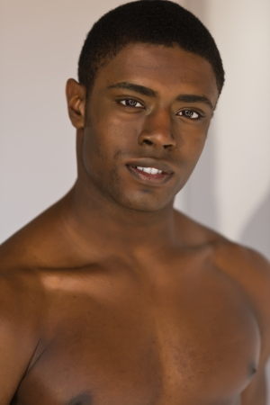 barechested: Handsome young barechested black man Stock Photo