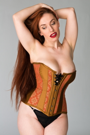 redhead lingerie: Pretty young redhead in a copper and brass corset