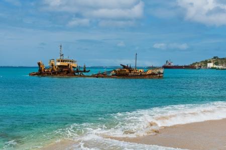 the virgin islands: Shipwreck off the coast of Marigot, St. Martin, Virgin Islands