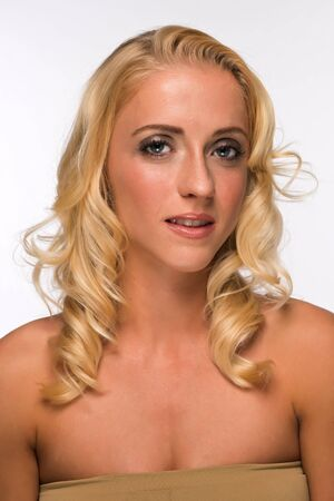tube top: Portrait of a pretty young blonde in a tube top