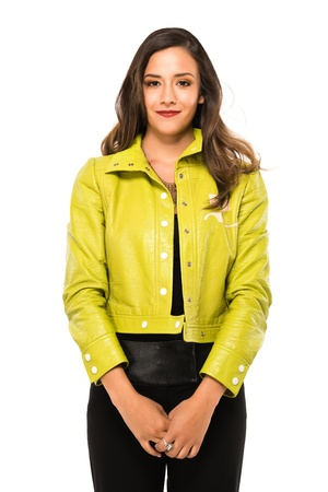 Pretty young brunette in lime green and black photo