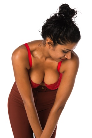 brassiere: Beautiful young Indian woman in a red brassiere