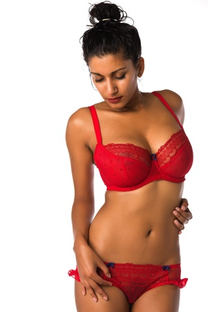 Beautiful young Indian woman in a red brassiere