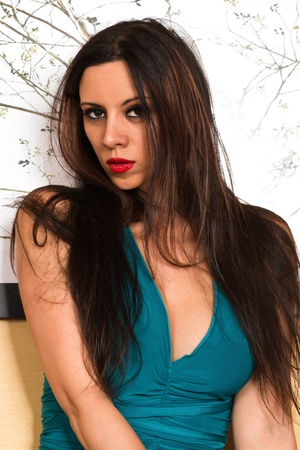 Pretty young brunette in a tight teal dress Stock Photo