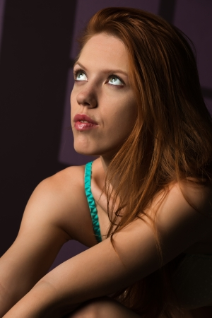 redhead lingerie: Beautiful tall redhead in turquoise and white lingerie