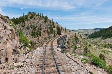 narrow gauge: Wooden railroad trestle in southern Colorado