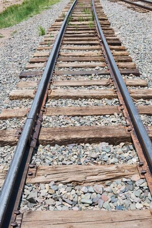 narrow gauge railroad: Tracks on a narrow gauge railroad Stock Photo
